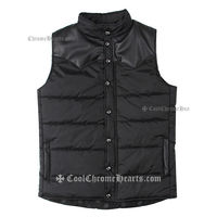 Men's Leather Dagger Black Chrome Hearts Waistcoat