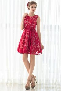 A Line Round Neck Sleeves Short Red Lace Party Prom Dress With Sash