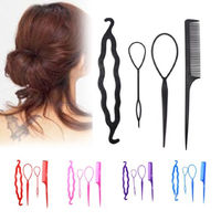 Set of 4 Hair Styling Tools. Plastic Comb, Bun Shaper and Hair Twist. Different Colours Available. £4.49