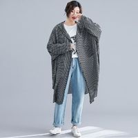 BLACK GRID AUTUMN CASUAL LADY LONG SLEEVE BIG SIZE FEMALE LOOSE COTTON HOODED OUTERWEAR