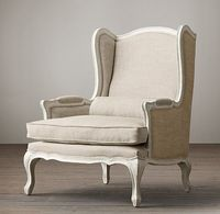 restoration hardware - 2 living room chairs in sand brushed belgian linen w/ burlap back