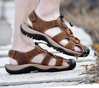 Casual Genuine Leather Summer Beach Men Sandals,NEW,on Sale! More Info:https://cheapsalemarket.com/product/casual-genuine-leather-summer-beach-men-sandals/