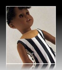 Black and White Striped One Piece Swimsuit fits American Girl $3.50
