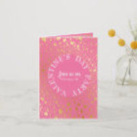Gold Hearts Circled Modern Valentine Party Invitation