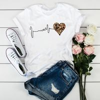 $2.92 Aliexpress - Women Leopard Heartbeat Short Sleeve Print Clothes Ladies Womens T-Shirt Graphic Tops Clothes Female Tumblr T Shirt T-shirts. Buy it from Aliexpress.com