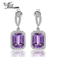 Quality 5.6ct Natural Stone Amethyst Square Drop Earrings For Women Solid 925 Sterling Silver Purple Gemstone Jewelry $158.98
