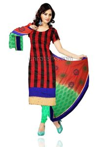 Unstitched party red and green Chanderi sico salwar kameez