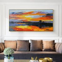 Seascape Modern Abstract original oil paintings on canvas framed wall art texture painting Wall Art Pictures for living room caudros $99.00