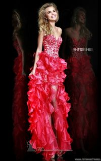 Red Floral Embroidered Top Strapless High to Low Ruffled Prom Dress