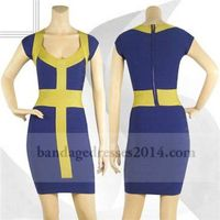 Blue Yellow Cap Sleeves Colorblocked Bandage Dress