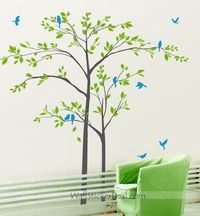 Mother And Son Tree With Playing Birds Wall Sticker