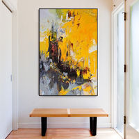 Framed wall art Abstract yellow acrylic Paintings on canvas extra Large Nordic large wall art cuadros abstractos $123.75