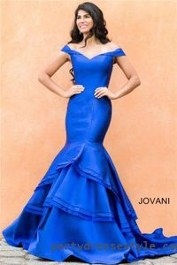 Jovani 31100 Off The Shoulder Formal Tiered Mermaid Prom Gowns 2016