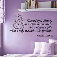 Winnie the Pooh Yesterday is history inspirational wall phrase word saying vinyl decal sticker 29i