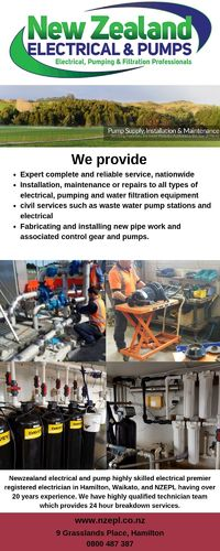 We are experts in Water, Heat Pump Installation, maintenance & repair in New Zealand - 24 hour breakdown service available. see: https://nzepl.co.nz/pumps/