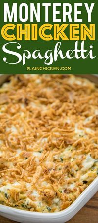 Monterey Chicken Spaghetti Casserole - my whole family went crazy over this easy chicken casserole!! Even our super picky eaters! Chicken, spaghetti, sour cream, cream of chicken, spinach, Monterey Jack Cheese, and french fried onions. Makes a great freez...