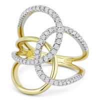 0.54ct Round Cut Diamond Pave Triple-Loop Overlap Right-Hand Statement Ring in 14k Yellow & White Gold