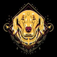 Cute dog golden retriever geometry illustration style in black background | Premium Vector.