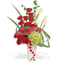 Ceramic vase with 16 roses, flowers and foliage COLOR: Pink Red Yellow
