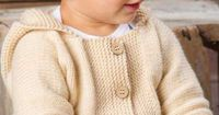 Annie's Signature Collection! Keep Baby cheerful with a comfy, cozy sweater! This sweater is super easy to knit, making it perfect for the first-time sweater knitter! Knit with 4 (4, 5, 5) skeins of Plymouth Yarn® Dreambaby DK at a gauge of 2...