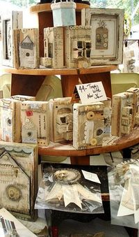 wood blocks with vintage collages
