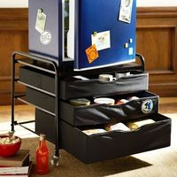 dorm fridge cart - extra storage. Can also use an inexpensive night stand or small dresser.