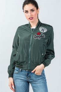 20% discount with BESTDEAL at checkout! Ladies fashion ribbed trim patch bomber jacket $24.00
