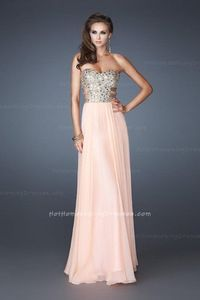 Beautiful Apricot A-line Strapless Sequin Long Prom Dress sale