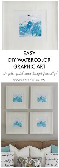 Need budget friendly and quick art for your walls? See how easily I whipped up this gorgeous DIY Watercolor Abstract Wall Art and created a gallery wall!