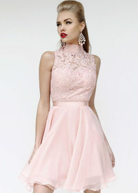 2014 High Neck Sheer Pink Elegant Short Lace Prom Dress