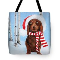 Cute doggie Christmas tote