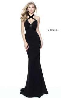 2017 Black Sherri Hill Style 50865 Halter Cutout Back Fitted Prom Dress Long