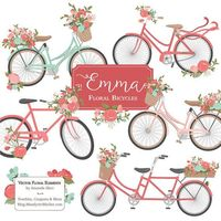 Emma Floral Bicycle Clipart & Vectors in Mint and by AmandaIlkov