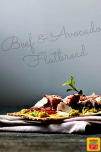 So perfect for #SundaySupper or a great appetizer that is light and nutritious - Beef and Avocado Flatbread