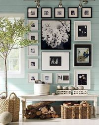 Interesting idea: black+whites against a colorful wall.