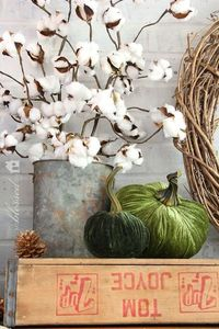 cotton bolls Natural Layered Fall Mantel | http://MyBlessedLife.net