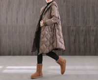 winter warm plus size black casual hooded long down coat, womens keep warm down coat,handmade trench coat,vintage Loose Casual down jacket $137.00
