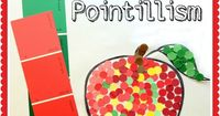 Pointillism for Kids Art Project Using Paint Swatches from Lalymom. This can go in new books!