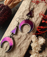 Crescent Moon purple Earrings with hypoallergenic Earring Hooks. Hand made from Stained glass. $44.00