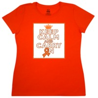 Leukemia Keep Calm and Carry On popular slogan on Women's T-Shirt featuring an awareness ribbon to advocate while being an inspiration in the fight against cancer.