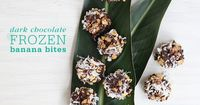 Recipe for the ultimate Frozen Dark Chocolate Covered Banana Bites with coconut, peanut butter, salted peanuts, and chocolate sprinkles
