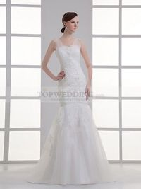 V NECK APPLIQUED MERMAID BRIDAL GOWN WITH BEADING AND APPLIQUE