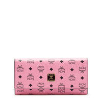MCM Large Color Visetos Trifold Wallet In Pink