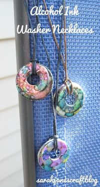 Alcohol Ink Washer Necklaces-this might be good for holiday gift shop