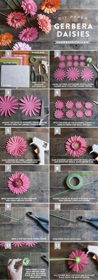 1. Gerbera Daisies 2. Crepe Paper Peonies 3. Rustic Paper Flower Bridal Bouquet 4. Paper Feather Garland 5. Paper Orchids 6. Crepe Paper Tulips 7. Crepe Paper R