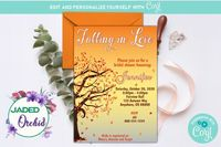 Fall in Love Bridal Shower Invitation, Falling in Love Bridal Shower, Fall Leaves, Fall Tree - INSTANT ACCESS - Edit NOW using Corjl $8.99