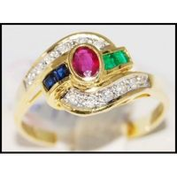 Jewelry Eternity 18K Yellow Gold Diamond Multi Gemstone Ring [R0041]