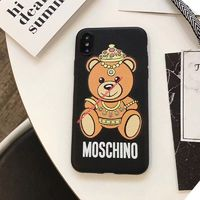 Moschino Crown Bear iPhone Case Black