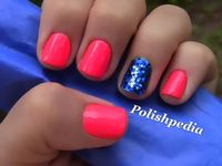 Neon pink with blue glitter. Yes!