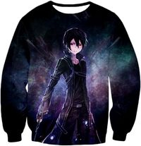 Sword Art Online Super Cool SAO Avatar Kirito The Black Swordsman Awesome Anime Black Sweatshirt SAO045 $0.00